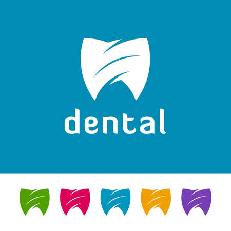Shield shaped abstract tooth icons on white and blue background. Minimal logo design for dental. Ilustração