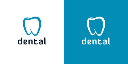 Outline tooth icons on white and blue backgrounds. Abstract dental logo designs. Ilustração