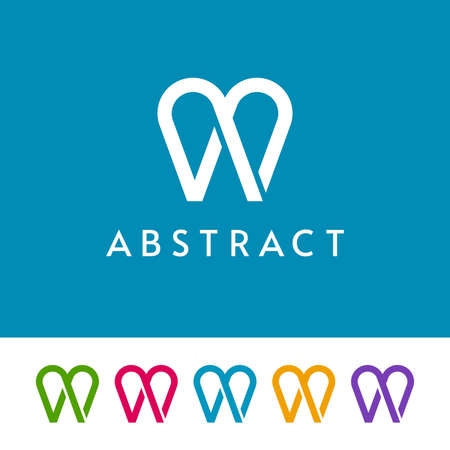 Simple tooth icons on white and blue background. Abstract logo design for dental.