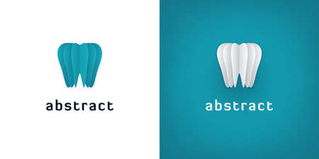 Abstract paper art tooth icons on white and turquoise backgrounds. 3D dental logo design.