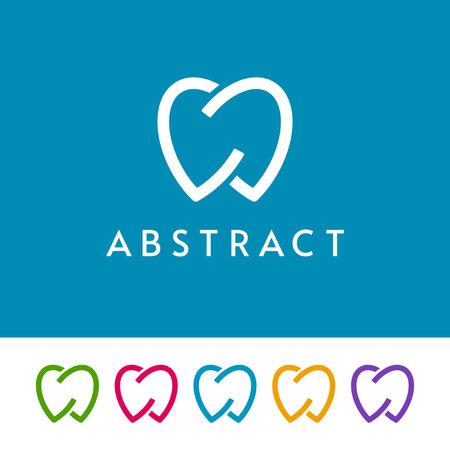 Isolated outline tooth icons on white and blue background. Minimal dentistry logo design. Ilustração
