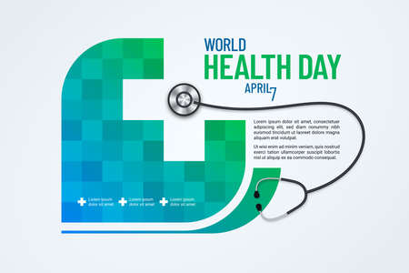 World Health Day page layout with stethoscope and negative space cross shape. Medical banner design.