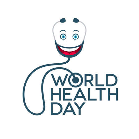 World Health Day lettering and stethoscope with emoticon face on white background. Medical banner design.