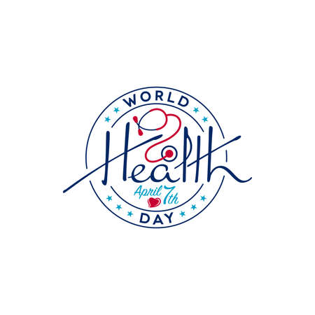 World Health Day typographic lettering with stethoscope and heart shape. Medical badge design.