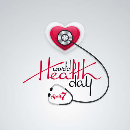 World Health Day banner design with stethoscope and glossy heart shape on white square background. Illustration