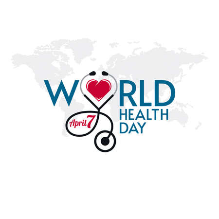 World Health Day typographic lettering with stethoscope and heart shape on world map textured background. Medical banner design.