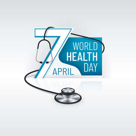 World Health Day April 7 display banner with realistic stethoscope. 3d medical poster design.