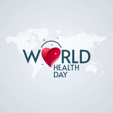 World Health Day lettering with heart and star shapes on world map textured background. Medical poster design.