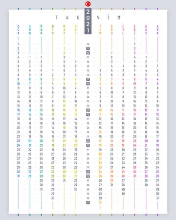 Linear poster calendar 2021 vector design. Vertical calendar template on white background for Turkey.