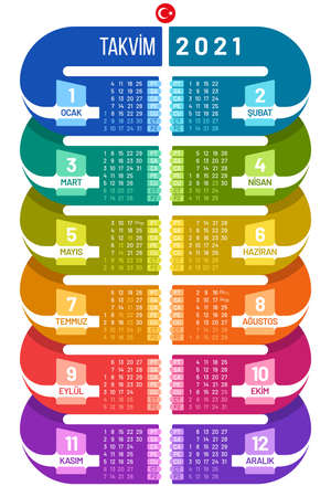 Colorful poster calendar 2021 template in infographic form. Vertical calendar vector design for Turkey.