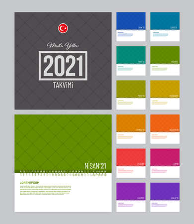 Linear calendar 2021 vector template with 12 pages. Colorful calendar template for Turkey. Illustration