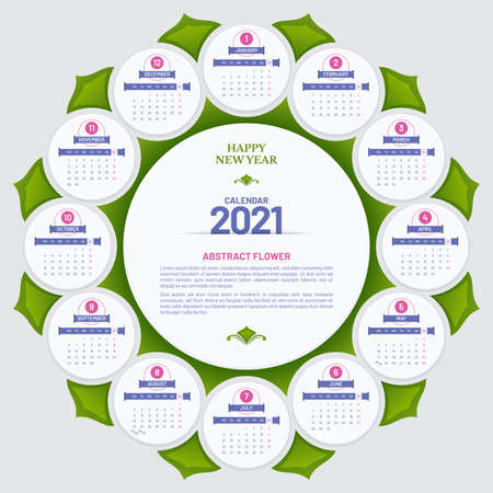 Round poster calendar 2021 vector design in flower head form with leaves. Week starts on Monday. Illustration