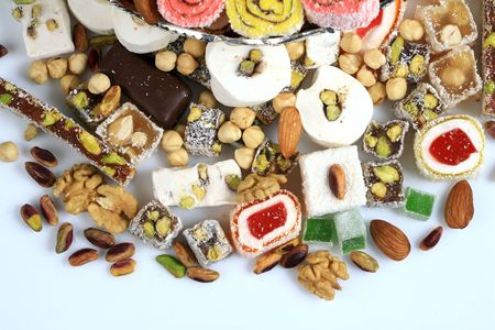 turkish dessert: turkish delight Stock Photo