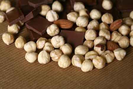 Enjoy chocolate with almonds and hazelnut blended image photo