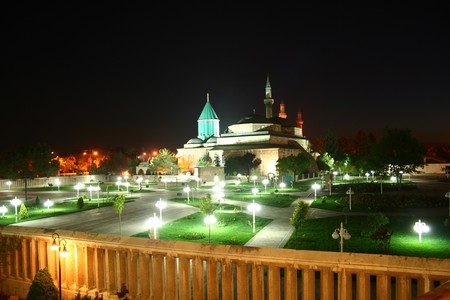 Mevlana Museum in the evening lit image