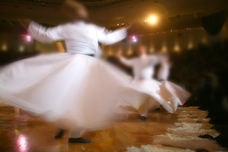 Mevlana dervishes dancing in the museum, konya