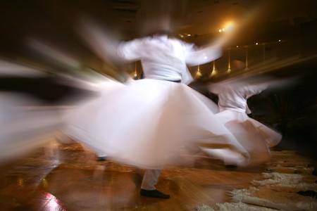 konya: Mevlana dervishes dancing in the museum, konya