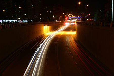 Blurred Motion of Car Lights on Highway at Night Stock Photo - 7585269