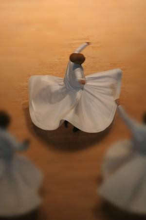 twirling: Mevlana dervishes dancing in the museum, konya