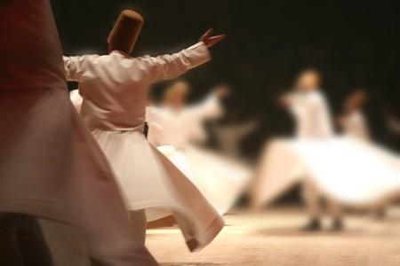 Mevlana dervishes dancing in the museum, konya