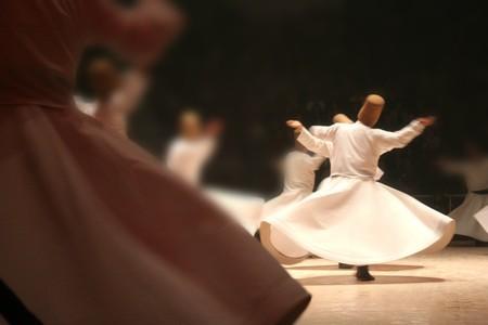 sufi: Mevlana dervishes dancing in the museum, konya