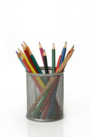 holder: Close-up of colored pencils Pencil box Stock Photo