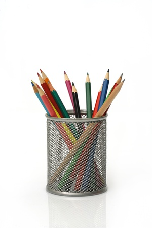 Close-up of colored pencils Pencil box photo