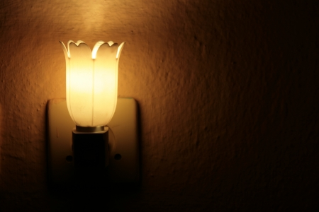 Night light in the darkness of the night the room lighting Stock Photo
