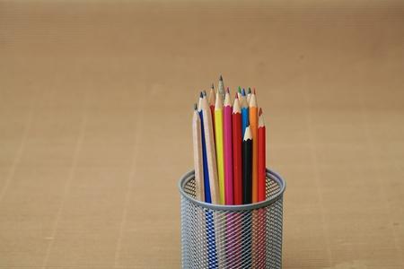 Close-up of colored pencils Pencil box photo