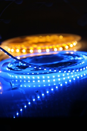 LED lights are glowing on black background Stock Photo