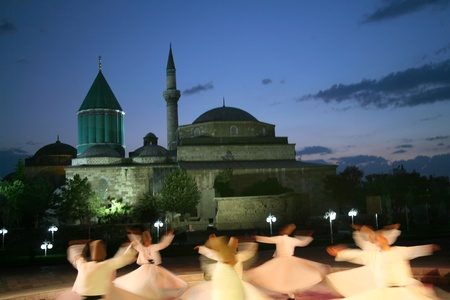 Mevlana dervishes dancing in the museum, konya  Editorial