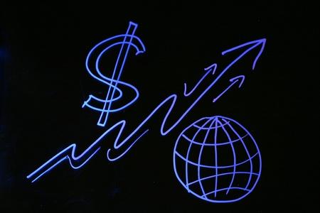 grafisch zeigen die Welt auf den wirtschaftlichen Abschwung Standard-Bild