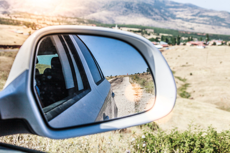 accelerated: car mirror background Stock Photo