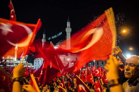 konya: 27 July 2016,Konyal - TURKEY: After the military coup in Turkey continues to keep democracy seizures occur in people with flag