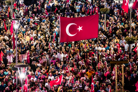 intrigue: 28 July 2016,Konyal - TURKEY: After the military coup in Turkey continues to keep democracy seizures occur in people with flag