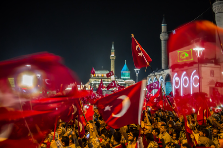 occur: 27 July 2016,Konyal - TURKEY: After the military coup in Turkey continues to keep democracy seizures occur in people with flag
