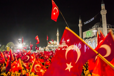 27 July 2016,Konyal - TURKEY: After the military coup in Turkey continues to keep democracy seizures occur in people with flag