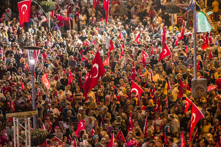 intrigue: 27 July 2016,Konyal - TURKEY: After the military coup in Turkey continues to keep democracy seizures occur in people with flag
