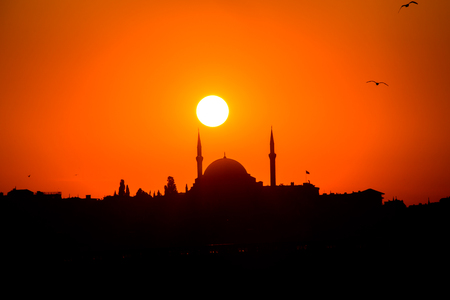 sunset and silhouette of a mosque in Istanbul Stock Photo
