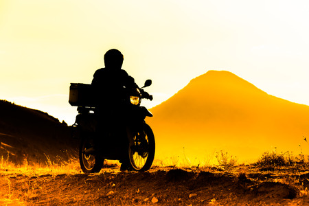 silhouette of the mountain motor drive Stock Photo