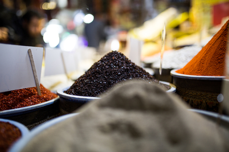 Colorful spices at spice bazaar in Konya, Turkey Stock Photo