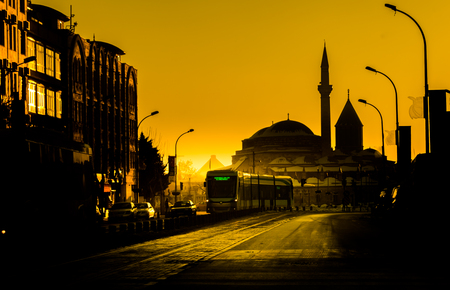 mevlana museum silhoutte, konya, turkey.  Stock Photo