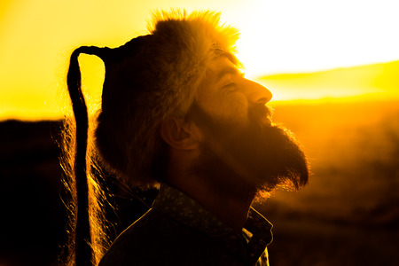 A hero at sunset
