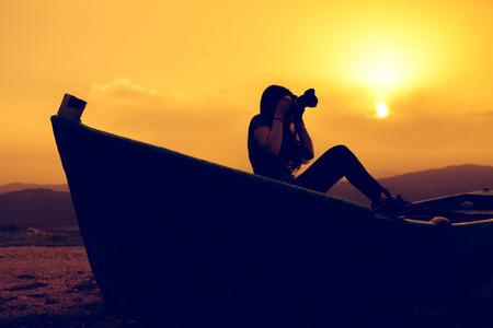 sunset photo shoot on the boat