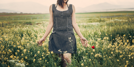 model shoot in the beauty of spring