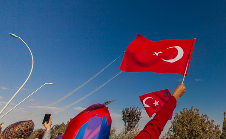 07 October 2017, Konya, Turkey. Turkish Air Force aerobatic demonstration team Turkish Stars are flying on the sky which called for 07 October 2017. Editorial