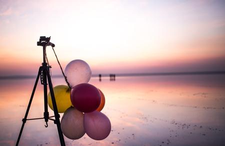 sunset and photo shoot in salt lake Stock Photo