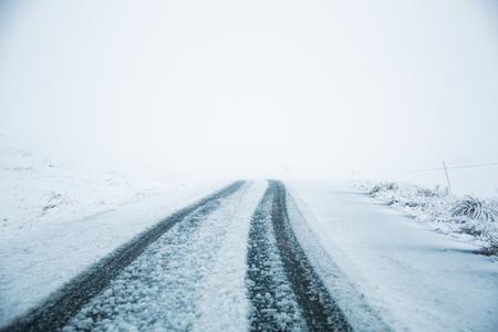 Road covered in snow Banco de Imagens