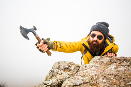 living conditions of man in mountain Stock Photo