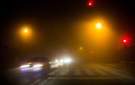 Foggy traffic view in winter